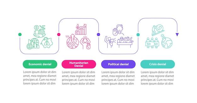 人道的否定ベクトルインフォグラフィックテンプレート。野党プレゼンテーションの概要設計要素。 4つのステップによるデータの視覚化。タイムライン情報チャートを処理します。ラインアイコン付きのワークフローレイアウト