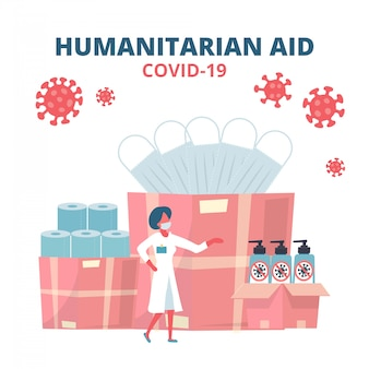 Humanitarian support, goodwill mission in suffering from coronavirus epidemic, intentional help, supplying masks, sanitizer gel and toilet paper concept. doctor unloading, carrying boxes flat