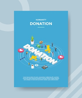 Humanity donation people standing around money coin heart calculator donation text for template of banner and flyer