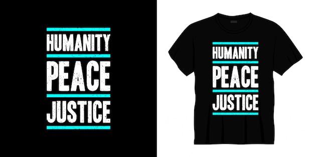 人類平和正義タイポグラフィtシャツデザイン