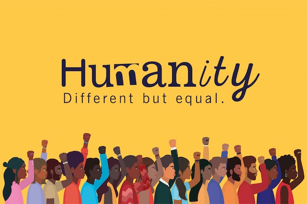 Humanity women and men cartoons with fists up design, diversity people multiethnic race and community theme
