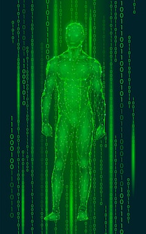 Humanoid android man standing cyberspace binary code, robot artificial intelligence