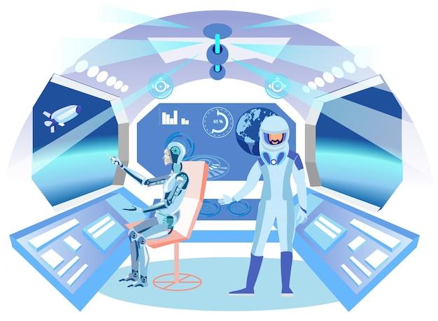 Humanoid astronaut in spaceship flat illustration