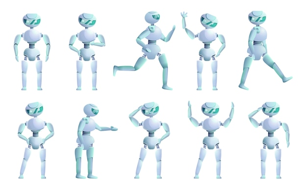 Humanoid character set, cartoon style