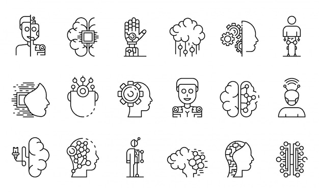 Humanoid icons set, outline style