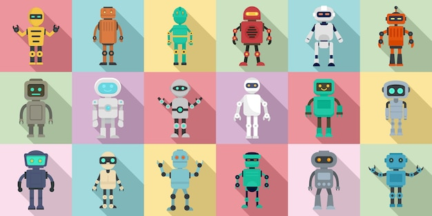 Humanoid icons set