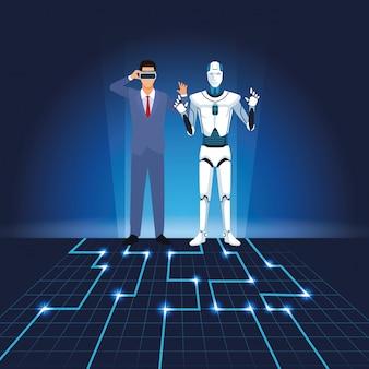 ヒューマノイドロボットとビジネスマン