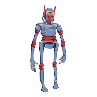 人型ロボット、人工知能搭載のアンドロイド。白い背景のイラスト。