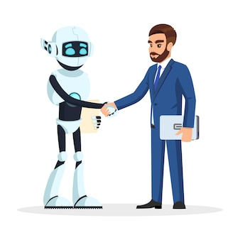 Humanoid robot and bearded businessman in formal suit shaking hands.
