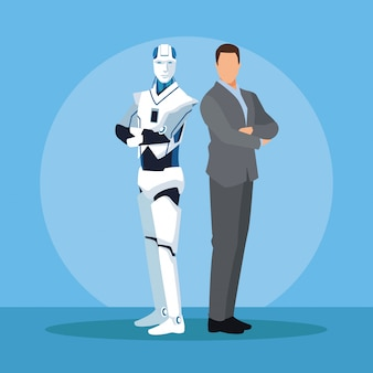 Humanoid robot and businessman
