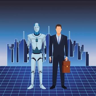 Humanoid robot and businessman