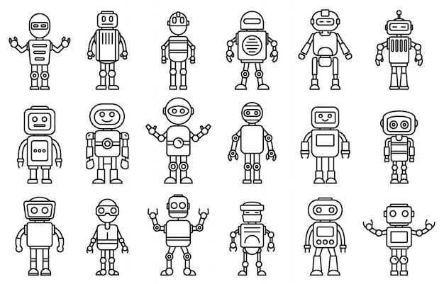 Humanoid robot icons set, outline style