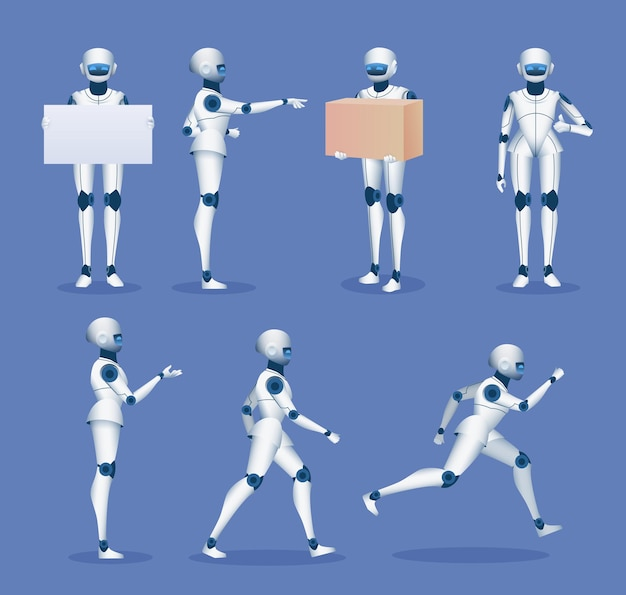 Humanoid robot mascot. cartoon future android character poses. 3d robots running, standing, holding poster board and delivery box vector set. illustration delivery robot service