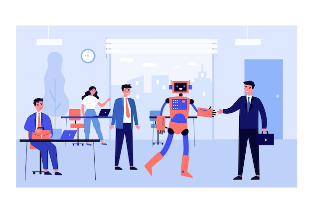 Humanoid robot shaking hands with businessman in office