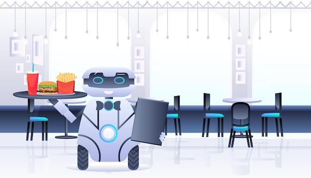 휴머노이드 로봇 웨이터는 레스토랑 인공 지능 기술 개념 카페 인테리어 가로 그림에서 음식과 음료 트레이를 운반