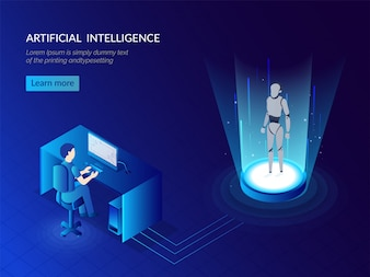 Humanoid robotic system for Artificial Intelligence concept.