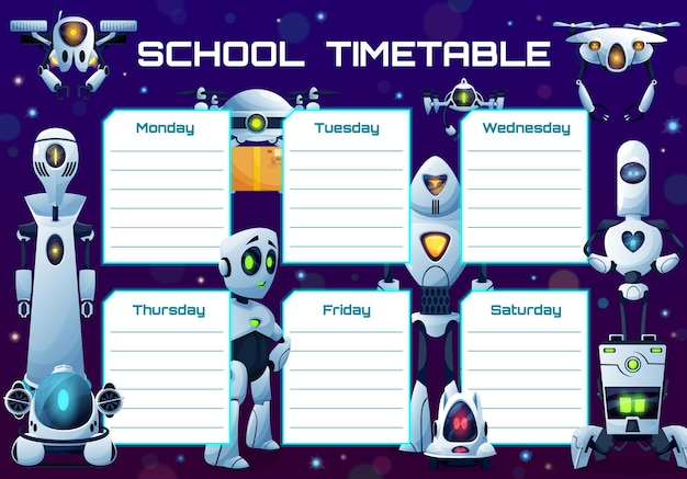 Humanoid robots and androids school timetable shedule
