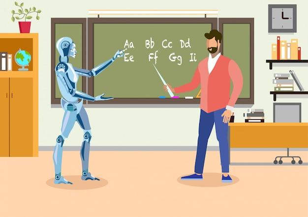 Humanoid teacher in classroom flat illustration