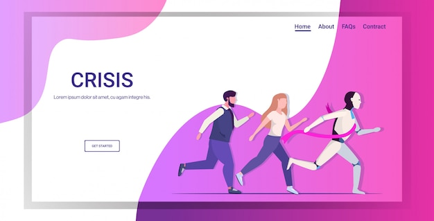 Humanoid winner running with businesspeople robot vs human business competition landing page