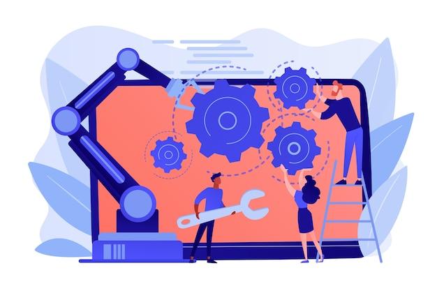 人間と協働ロボットのロボットアームは、ラップトップの固定ギアで協力します。協働ロボット、協働ロボットの自動化、安全な業界ソリューションのコンセプト