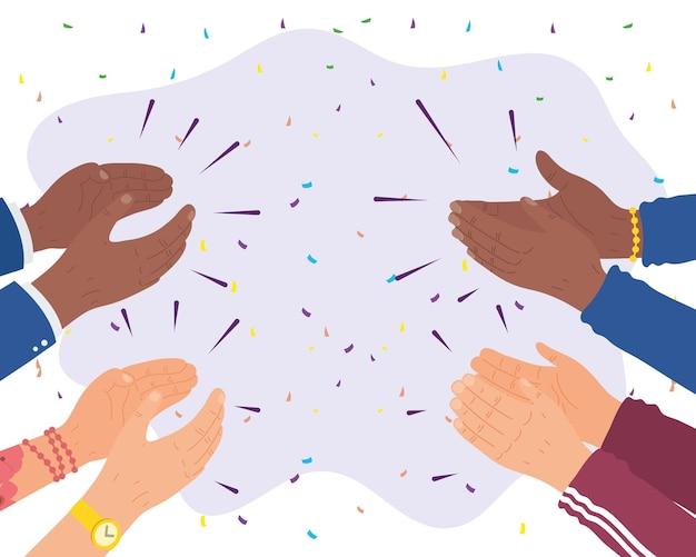 축하하는 인간의 손 박수