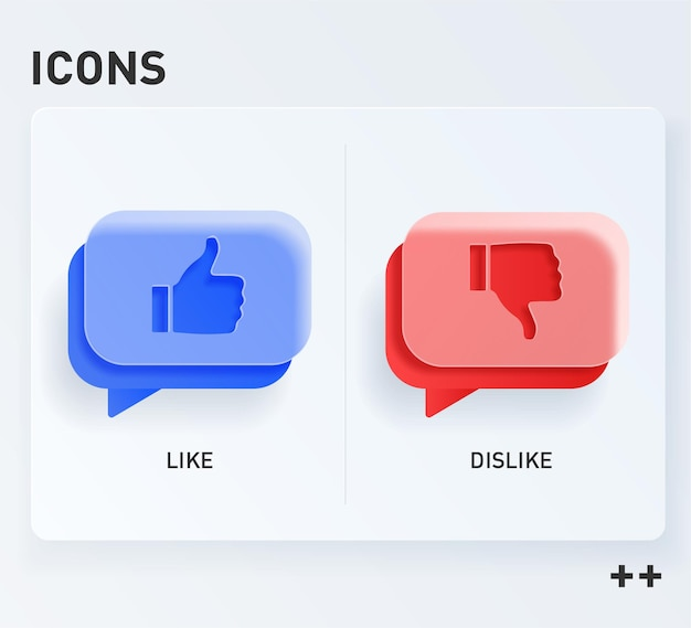 Humb up and thumb down sign, likes and dislikes icons. vector in the style of glass morphism.