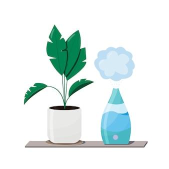 Увлажнитель и растения оборудование для дома или офиса. очиститель воздуха на внутренней иллюстрации с домашним растением. устройство для очистки и увлажнения воздуха для дома.
