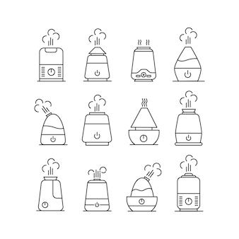 加湿器アイコンセット。蒸気で輪郭加湿器。白い背景で隔離。