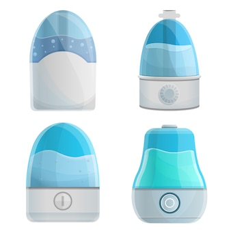 Humidifier icons set, cartoon style