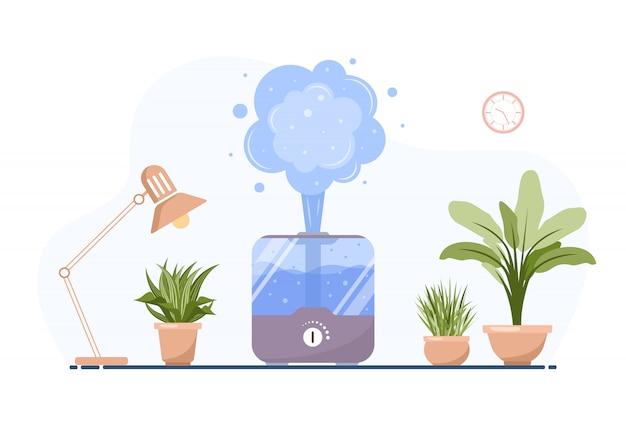 Увлажнитель с комнатными растениями. оборудование для дома или офиса. ультразвуковой очиститель воздуха в интерьере. устройство очистки и увлажнения. современная векторная иллюстрация в плоском мультяшном стиле.