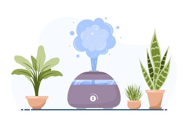 観葉植物の加湿器。家庭やオフィス用の機器。