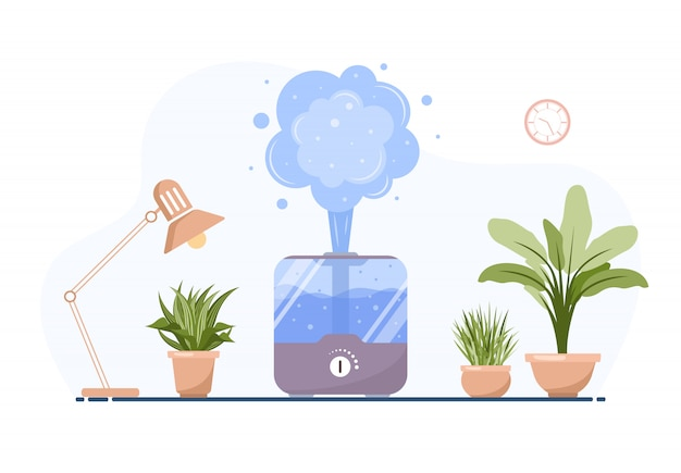 Humidifier with house plants. equipment for home or office. ultrasonic air purifier in the interior. cleaning and humidifying device. modern vector illustration in flat cartoon style.