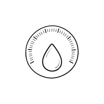 水滴手描きのアウトライン落書きアイコンと湿度センサー。比重計、気候制御の概念