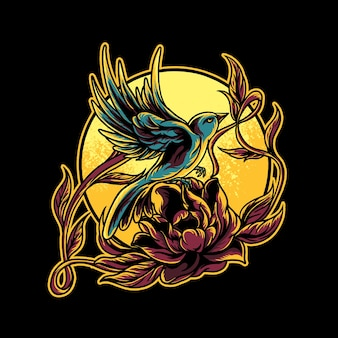 ハチドリとバラのイラスト