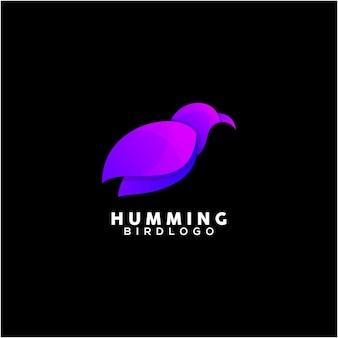 허밍 버드 다채로운 로고 디자인 서식 파일