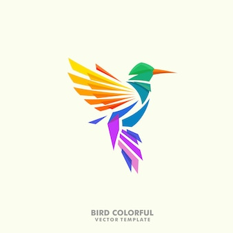 Humming bird illustration concept vector design template