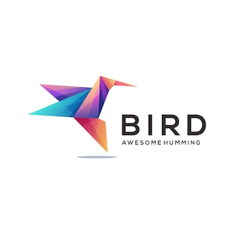 Humming bird logo colorful geometric gradient