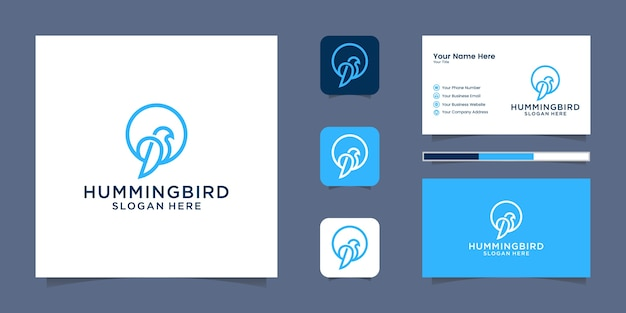 Humming bird logo minimalist simple line art style logo and business card