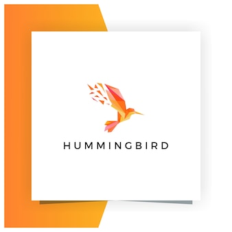 Humming bird low poly logo design premium