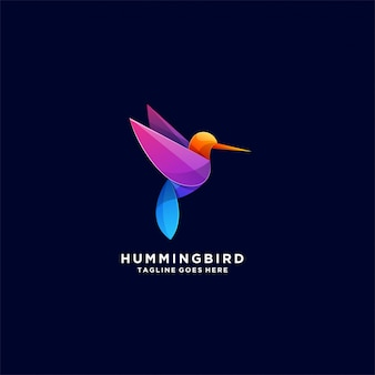 Humming bird perfect combination colorful logo Premium Vector
