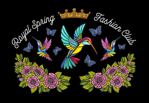 Колибри бабочка корона цветы вышивка патч. humming bird цветочные лист крылья насекомых вышивка. рисованная иллюстрация