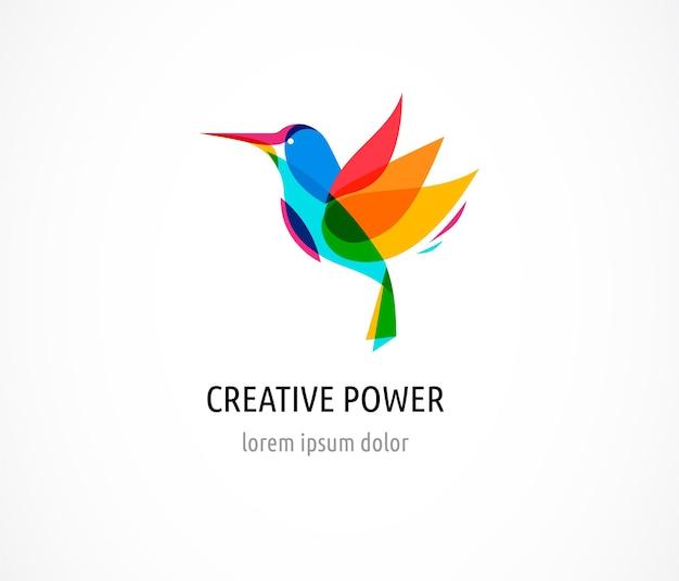 Колибри, абстрактная птица красочный логотип