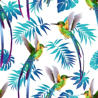 Hummingbird and Tropical Flowers Background.