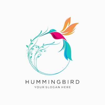 Колибри птица цветок тропический логотип