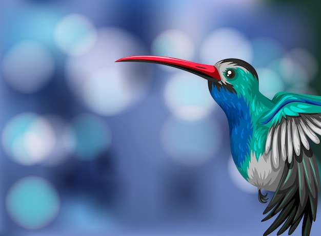A hummingbird on blurry background illustration with copyspace