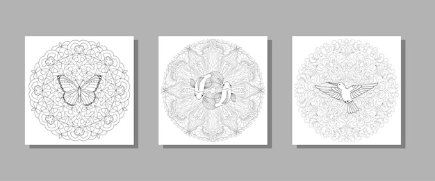 Hummingbird butterfly and fishes mandala set for textile and t shirt prints tattoo coloring books