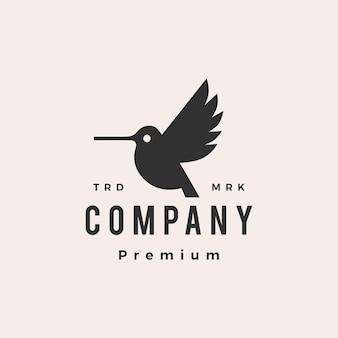Hummingbird colibri hipster vintage logo template
