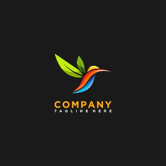 Hummingbird colorful logo in abstract