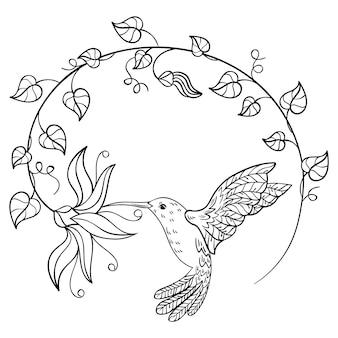 花から蜜を飲むハチドリ。花の輪に刻まれた空飛ぶハチドリ。