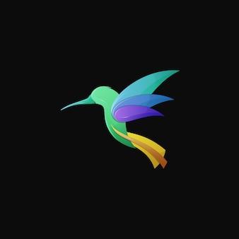 Hummingbird gradient colorful modern bird logo illustration